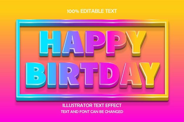 С днем рождения, 3d редактируемый текстовый эффект современный стиль тени