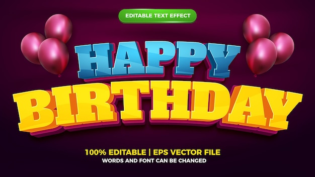 Happy birthday 3d editable text effect style template
