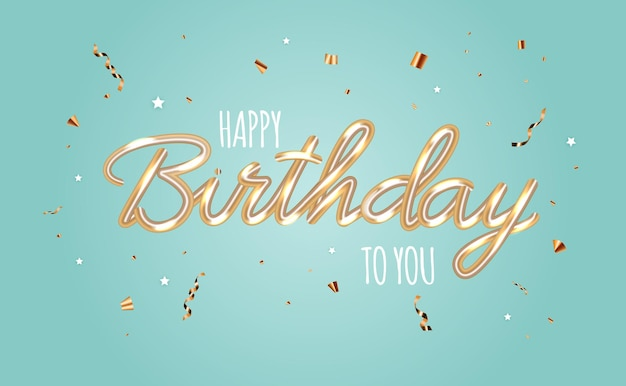 Happy birthday abstract glossy background with confetti