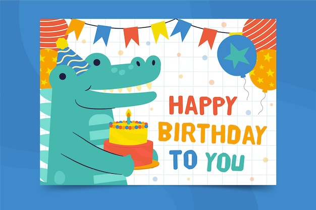 Happy birthday alligator square flyer print template