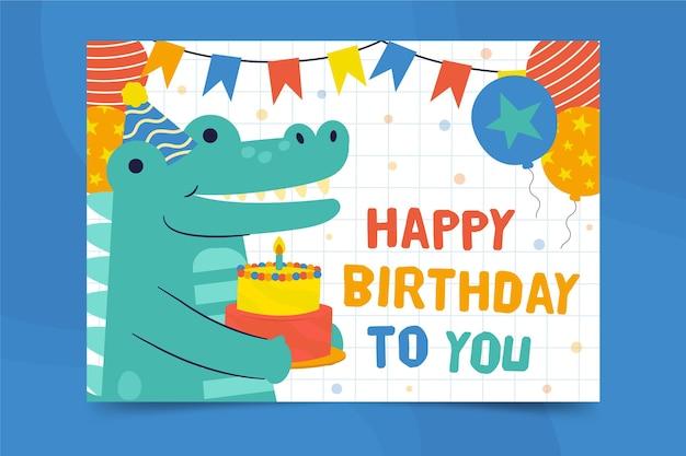 Modello di stampa volantino quadrato di alligatore di buon compleanno