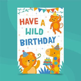 お誕生日おめでとう動物カード印刷テンプレート