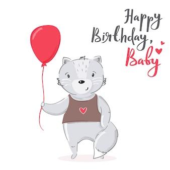 Happy birthday, baby cartoon cat card design.