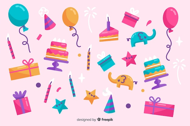 Happy birthday background in hand drawn style