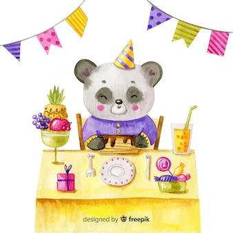 수채화 스타일의 생일 축하 배경