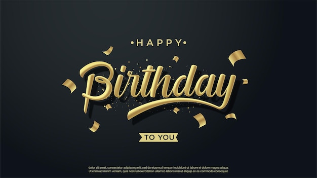 黒の背景に3dゴールドの書き込みでお誕生日おめでとう背景