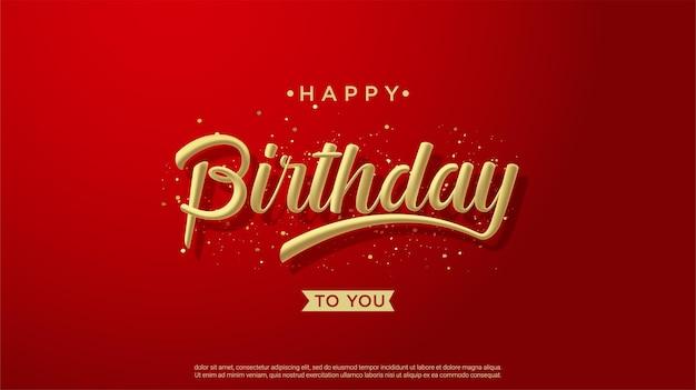 赤い背景に3dゴールドの書き込みでお誕生日おめでとう背景