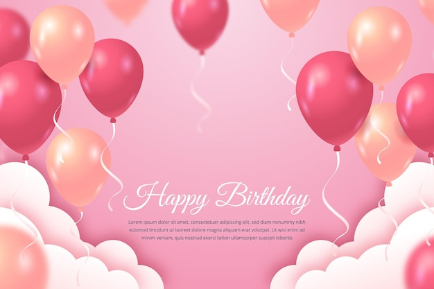 Happy birthday background with balloons and clouds