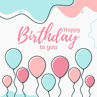 Happy birthday background with balloons for greeting cards and poster