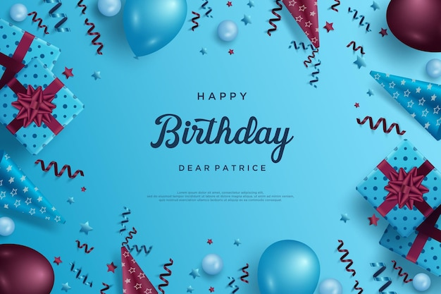 Happy birthday background with balloons and party baubles