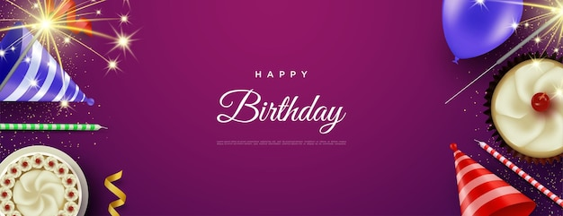 Happy birthday background with big cake and birthday hat