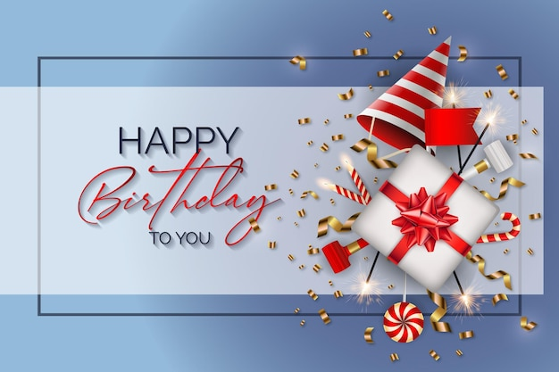 Happy birthday background with a birthday elements vector