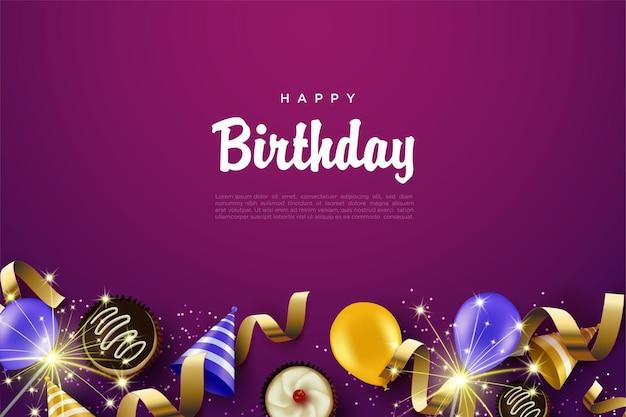 Happy birthday background with birthday supplies Premium Vector