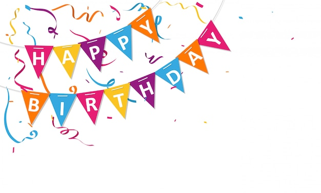 Happy birthday background with bunting flags and confetti