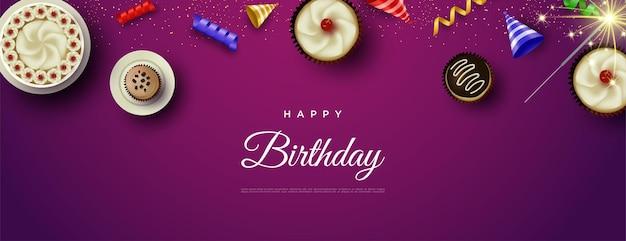 Happy birthday background with cake and celebration fireworks