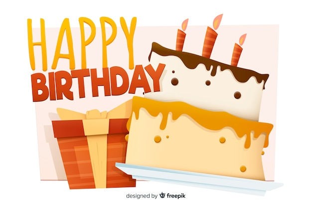 Happy birthday background with cake in flat design