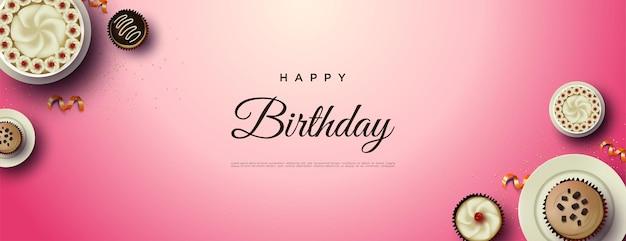 左右にケーキとお誕生日おめでとう背景