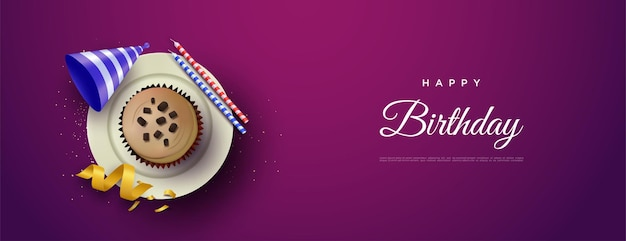 Happy birthday background with cake on plate