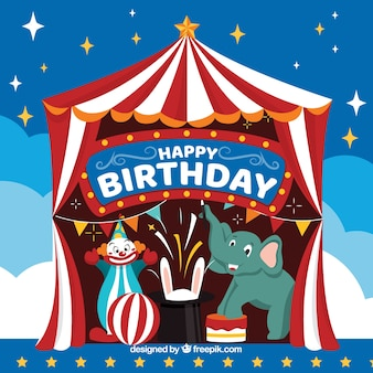 Happy birthday background with circus