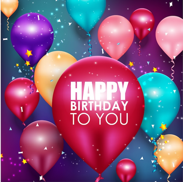 Happy birthday background with colorful balloons floating