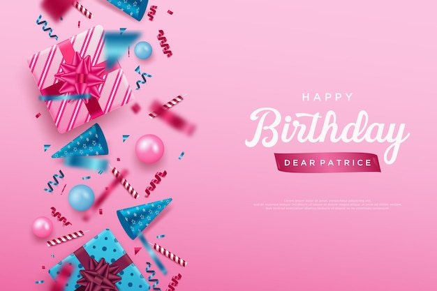 Happy birthday background with complete birthday equipment