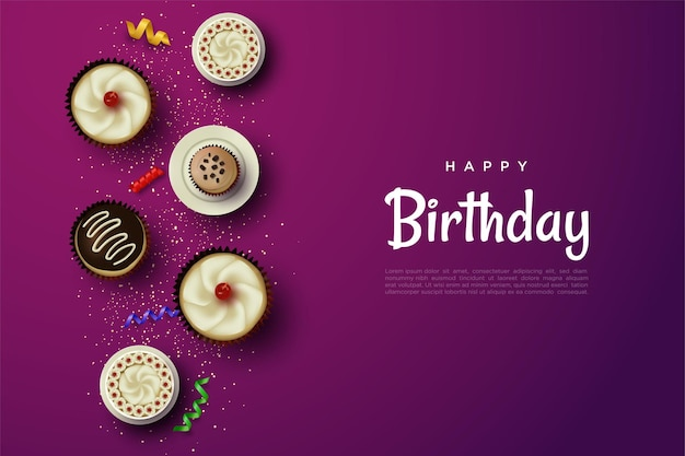 Happy birthday background with delicious cake illustration
