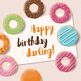 Happy birthday background with donuts