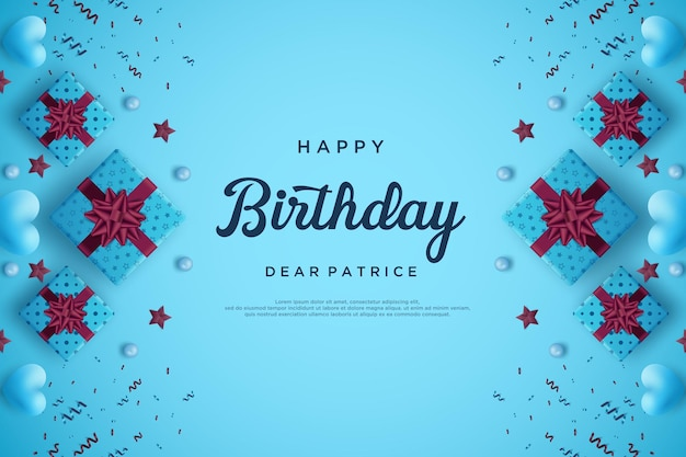 Happy birthday background with gift box on the edge