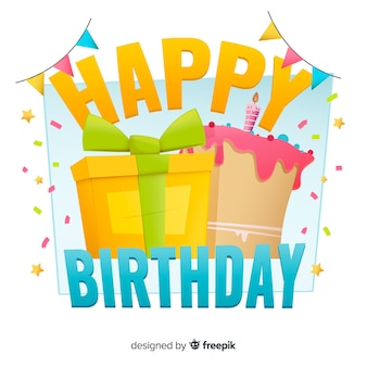 Happy birthday background with gift in flat design