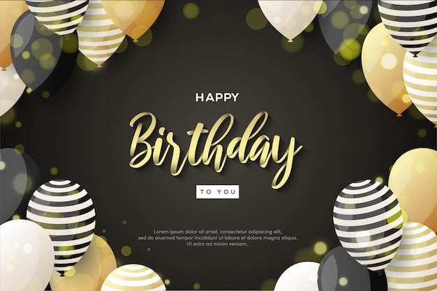 Happy birthday background with gold writing and 3d balloons.