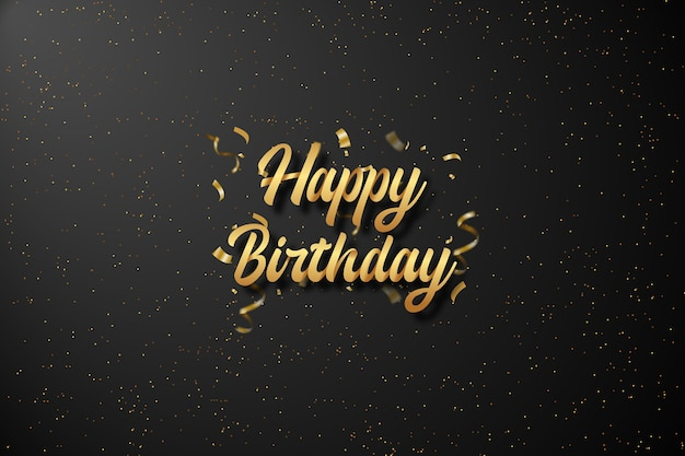 Happy birthday background with golden text on black