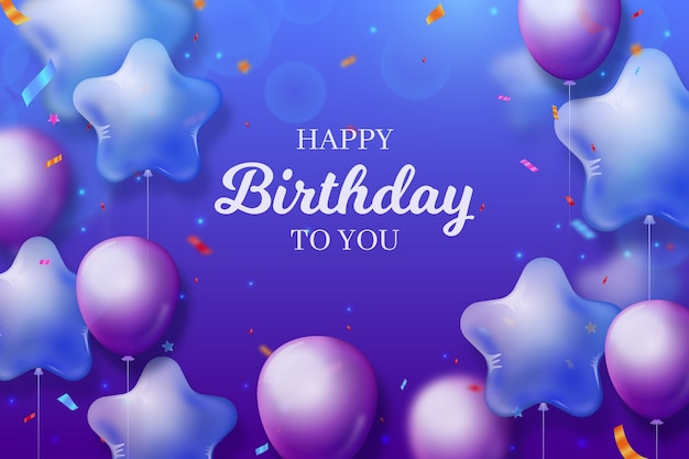 Happy birthday background with gradient violet balloons