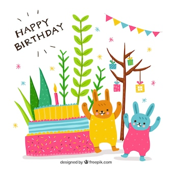 Happy birthday background with hand drawn bunnies and cake