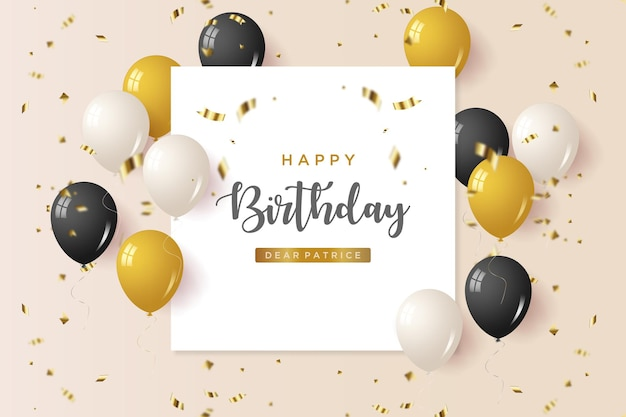 Happy birthday background with illustration on white paper