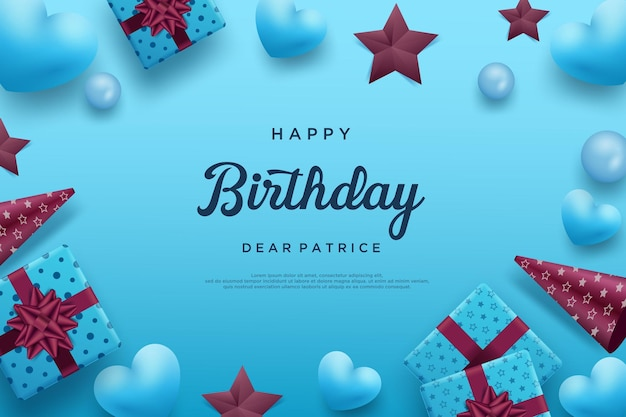 Happy birthday background with love balloons and stars