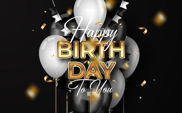 Sfondo di buon compleanno con palloncini e coriandoli di lusso