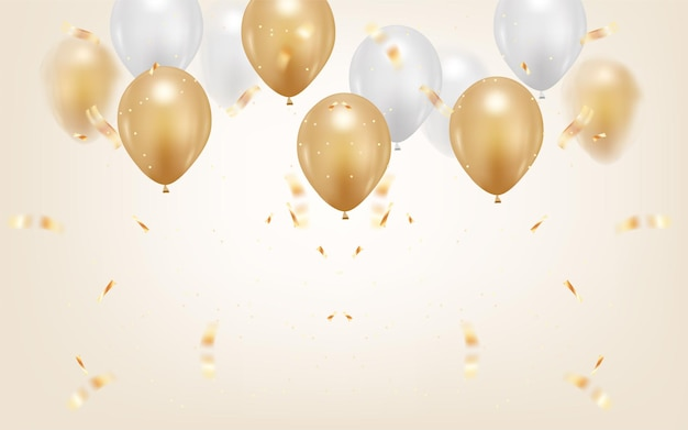 Happy birthday background with realistic balloon
