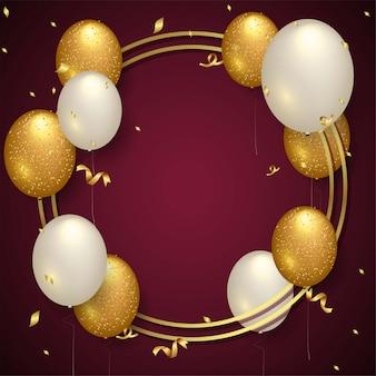 Happy birthday background with realistic balloons Premium Vector