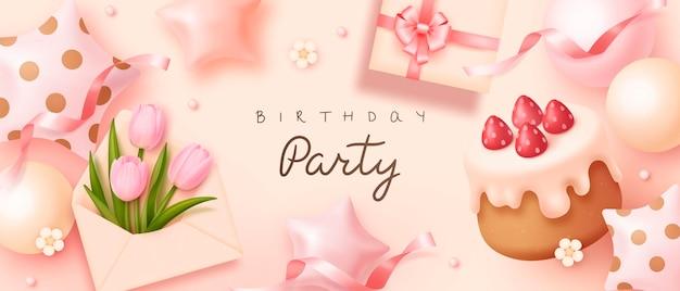 現実的なケーキギフトボックスの風船と花とお誕生日おめでとうの背景