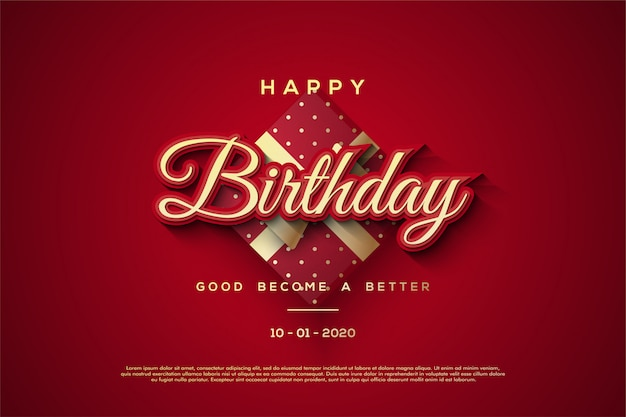 Happy birthday background with red 3d gift box illustrations.