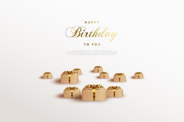 散らばったギフトボックスとお誕生日おめでとう背景。