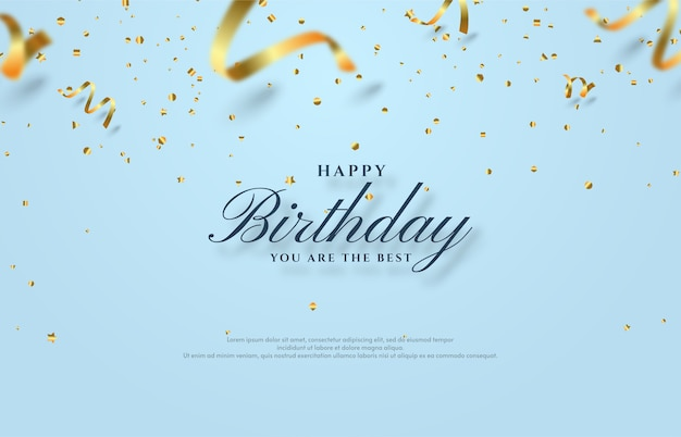 Happy birthday background with scattered gold paper cut illustration.