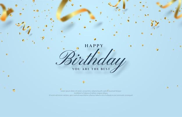 흩어져있는 금색 종이로 생일 축하 배경 그림을 잘라.