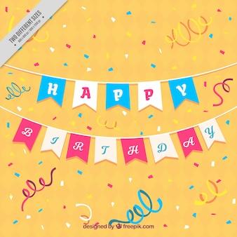 Счастливый день рождения фон с серпантином
