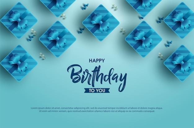 리본으로 여러 선물 상자와 함께 생일 축하 배경