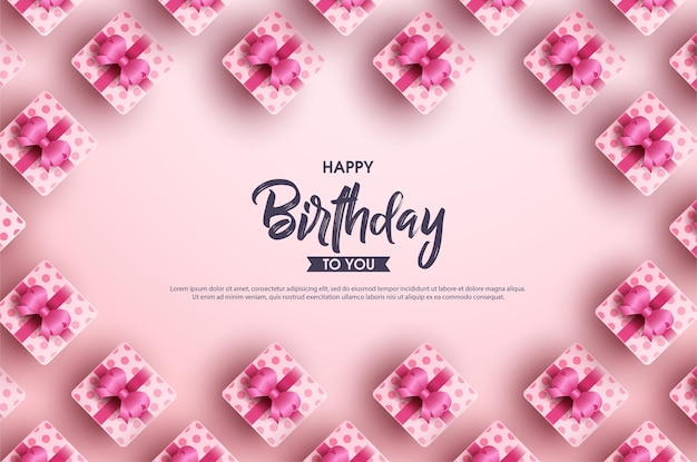 Happy birthday background with several ribbon gift boxes on a pink background