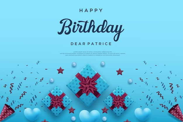 Happy birthday background with three ribbon gift boxes