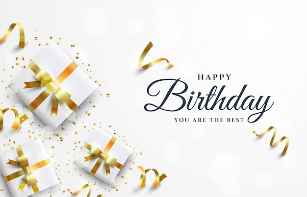 Happy birthday background with white gift box.