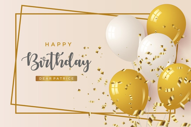 Happy birthday background with white and gold balloons