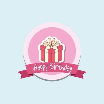 Happy birthday badge with gift box